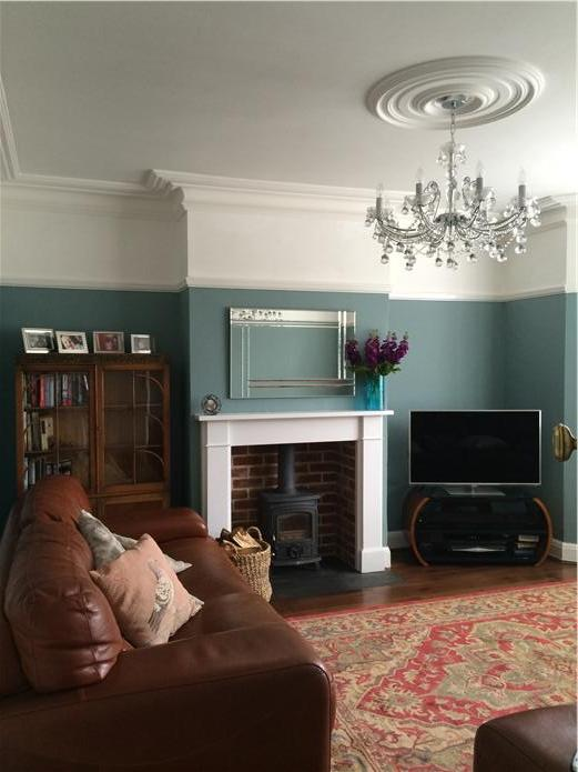 Living room walls in Oval Room Blue by Farrow & Ball
