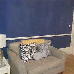 Living Room In Drawing Blue