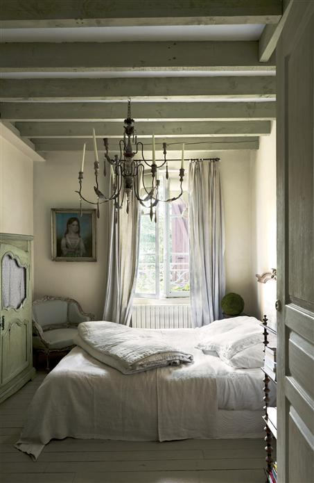 A quiet and serene European inspired bedroom with ceiling panted Ball Green by Farrow & Ball. #romanticbedroom #ballgreen #FrenchCountry