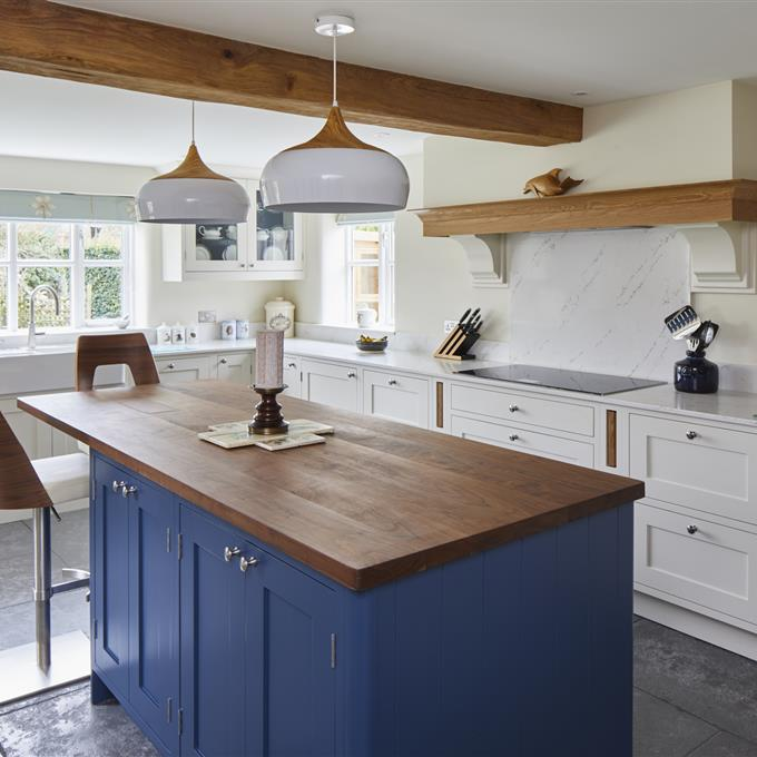 Are Painted Kitchen Cabinets Durable: Stiffkey Blue