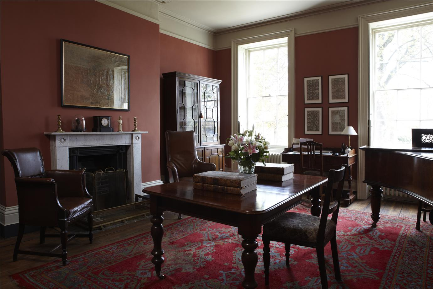 Farrow And Ball Cream And Red Living Room