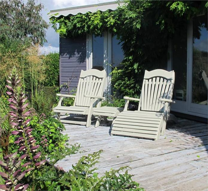 Farrow and Ball French Grey Chairs in garden