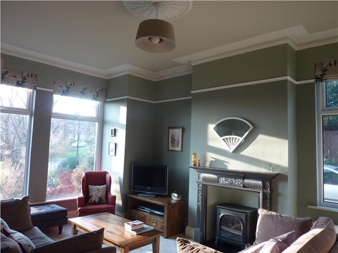 An Edwardian Sitting Room With Pigeon On The Main Body Of Walls And Blue Gray
